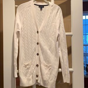 White Lands End Cable Knit Cardigan